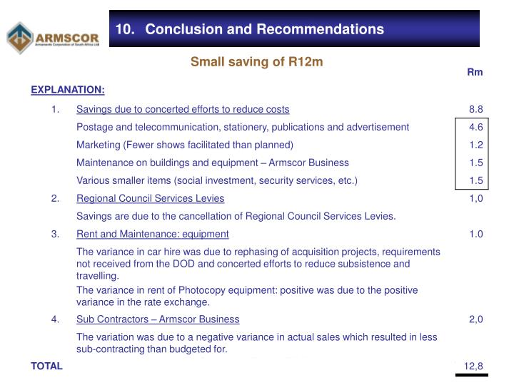 10.	Conclusion and Recommendations