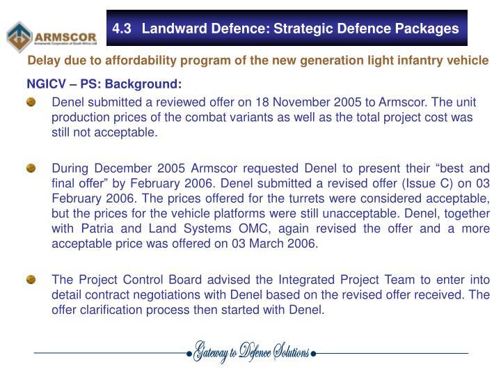 4.3Landward Defence: Strategic Defence Packages