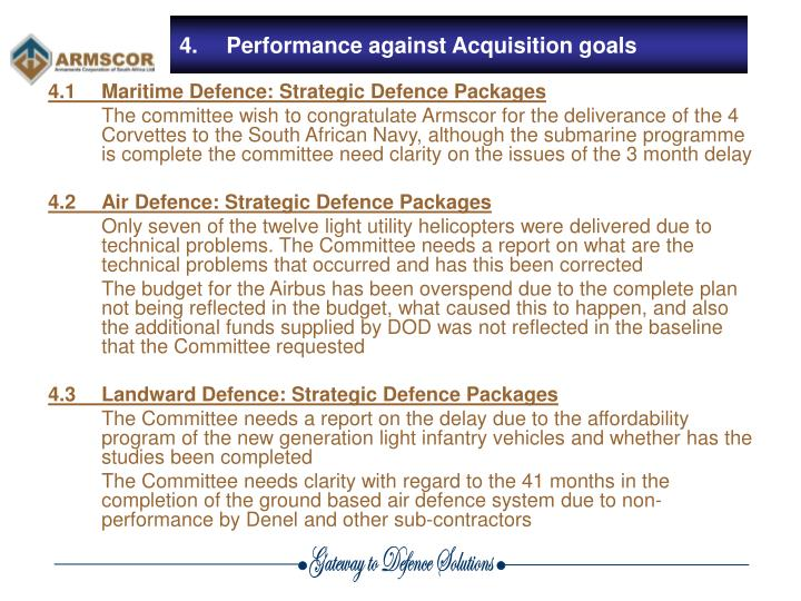 4.1	Maritime Defence: Strategic Defence Packages