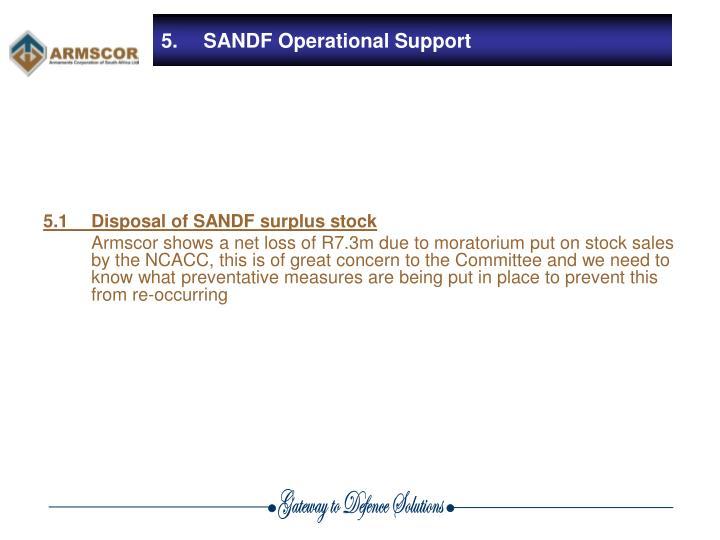 5.1Disposal of SANDF surplus stock