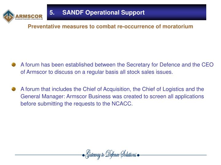 5.	SANDF Operational Support