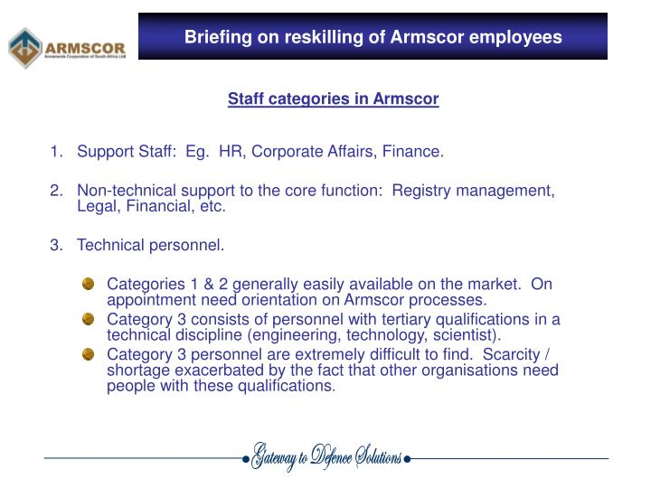 Briefing on reskilling of Armscor employees