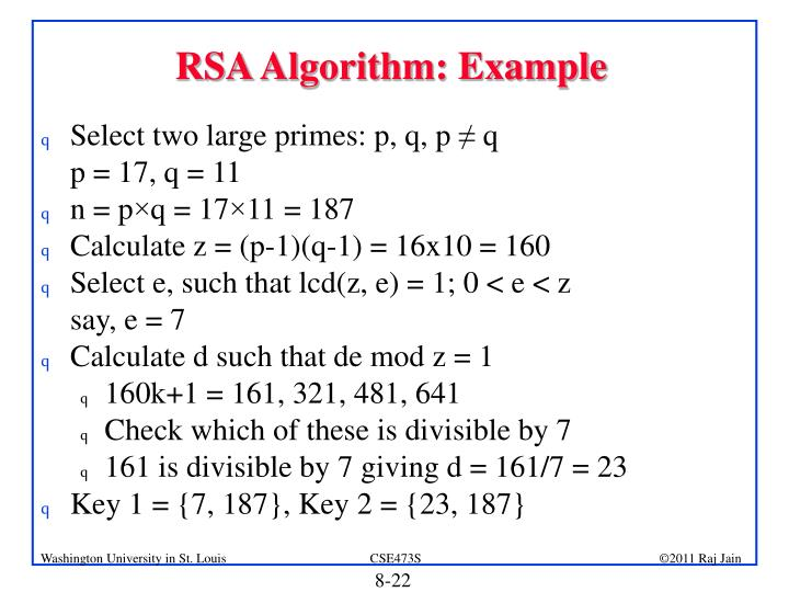 RSA Algorithm: Example