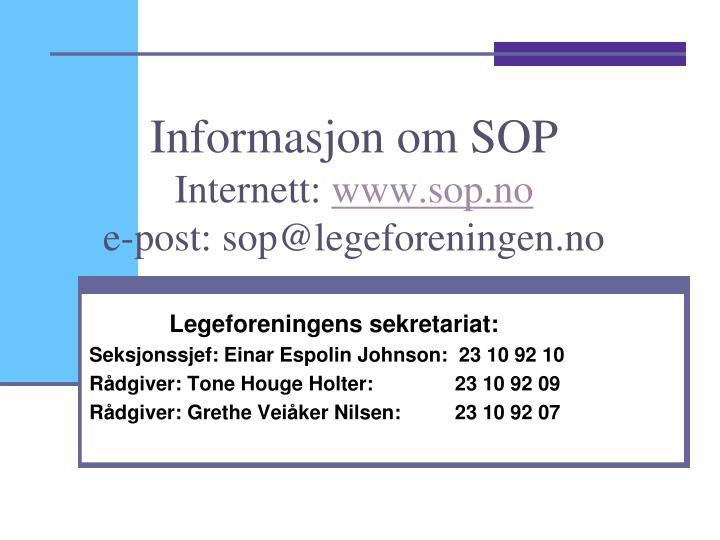 Informasjon om SOP