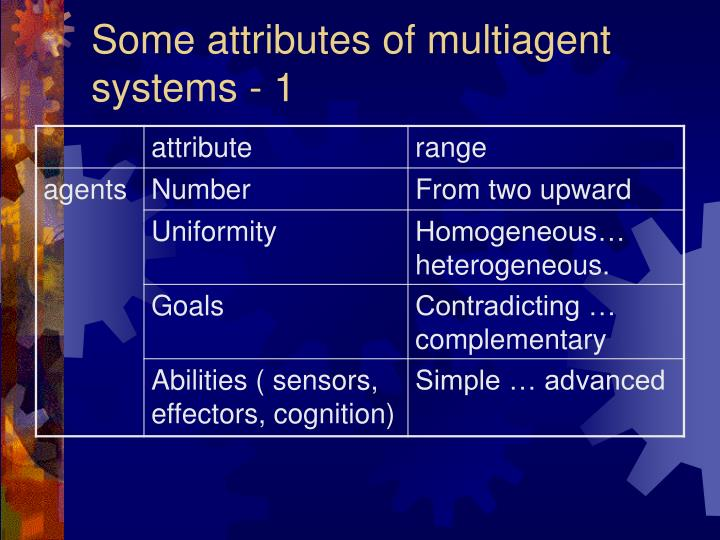 Some attributes of multiagent systems - 1
