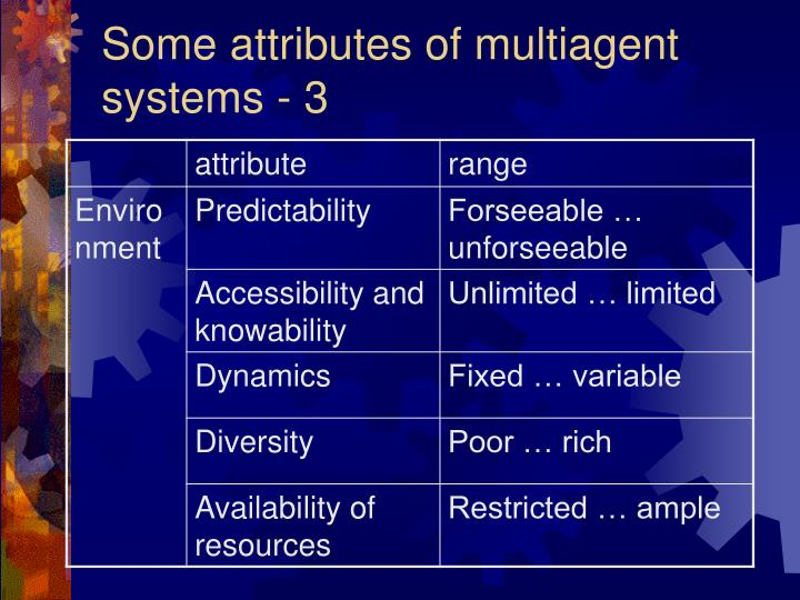 Some attributes of multiagent systems - 3