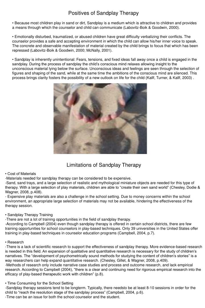 Positives of Sandplay Therapy