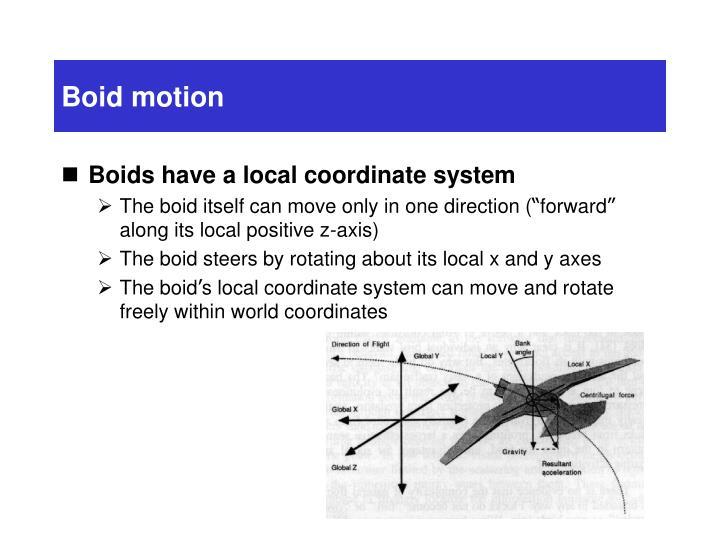 Boid motion