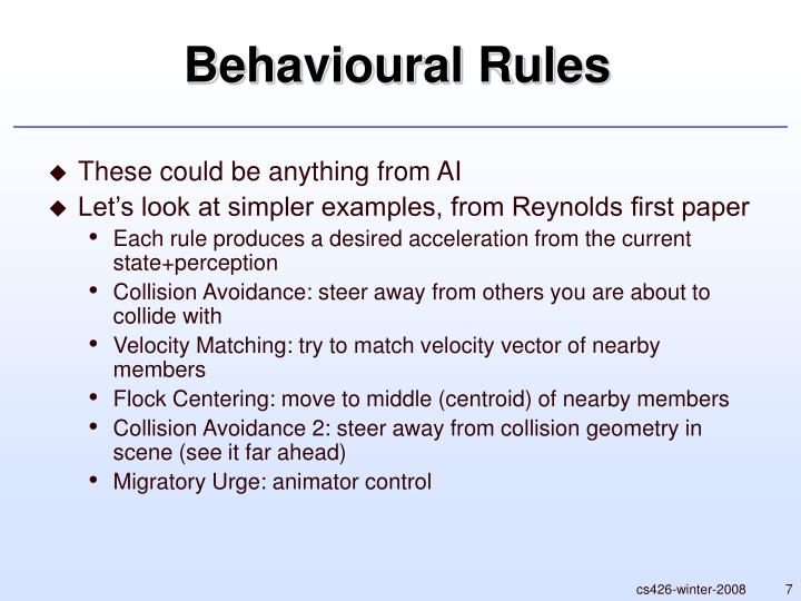 Behavioural Rules