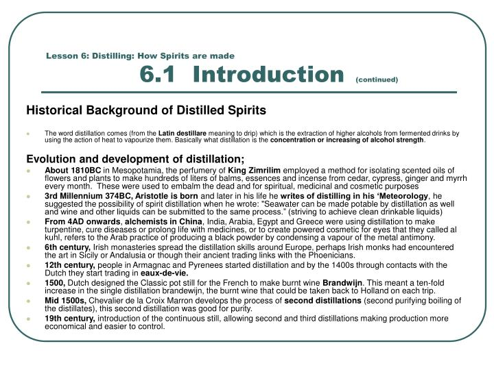Lesson 6: Distilling: How Spirits are made