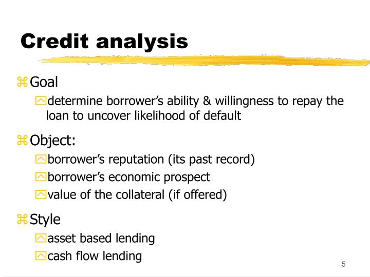 Credit analysis