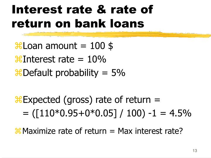 Interest rate & rate of return on bank loans