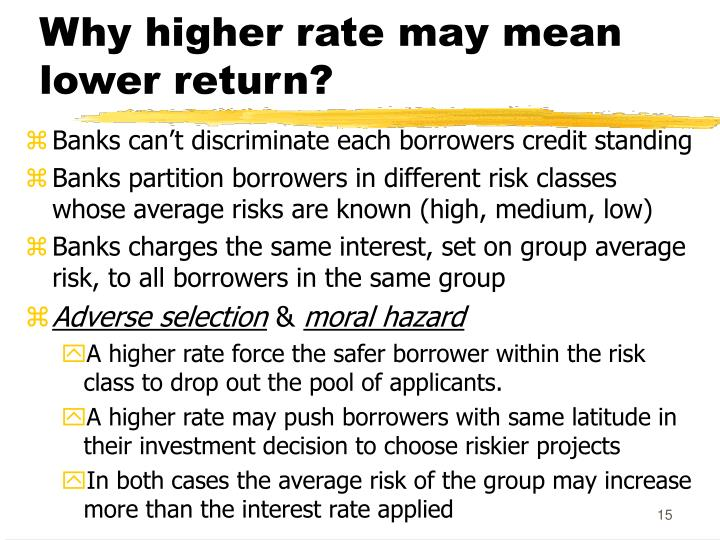 Why higher rate may mean lower return?
