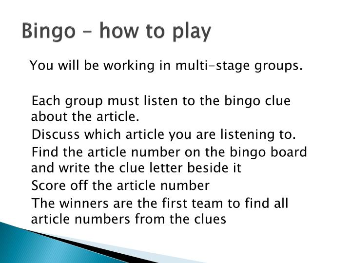 Bingo how to play