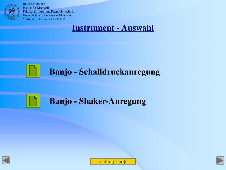 Instrument - Auswahl