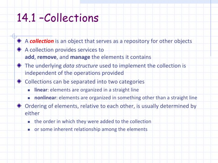 14.1 –Collections