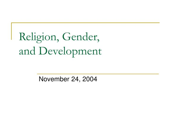 Religion gender and development