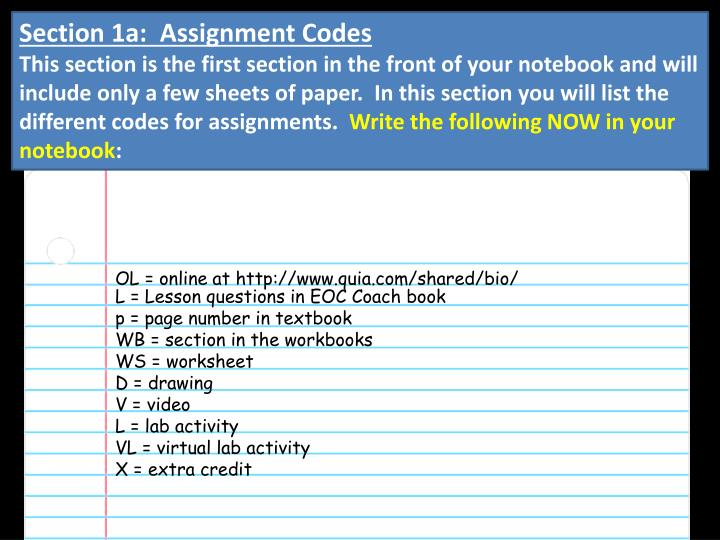 Section 1a:  Assignment Codes