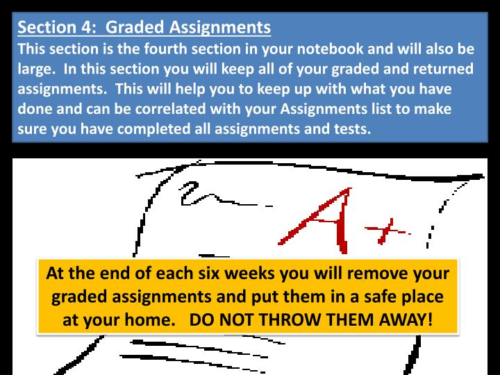 Section 4:  Graded Assignments