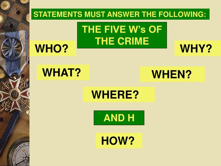STATEMENTS MUST ANSWER THE FOLLOWING: