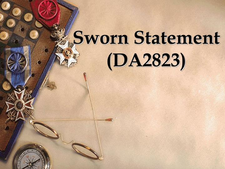 Sworn statement da2823