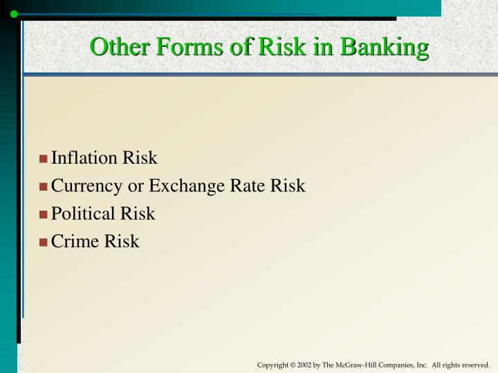 Other Forms of Risk in Banking