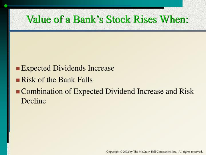 Value of a Bank's Stock Rises When: