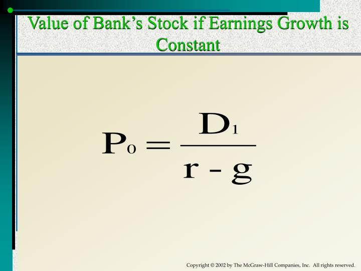Value of Bank's Stock if Earnings Growth is Constant