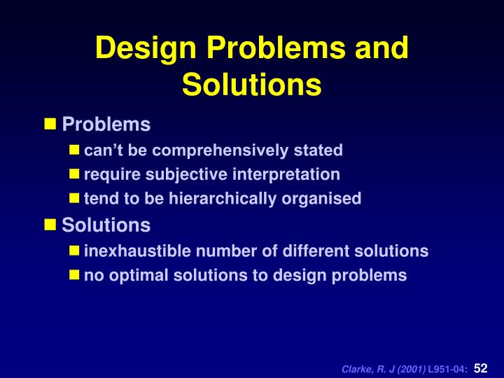 Design Problems and Solutions