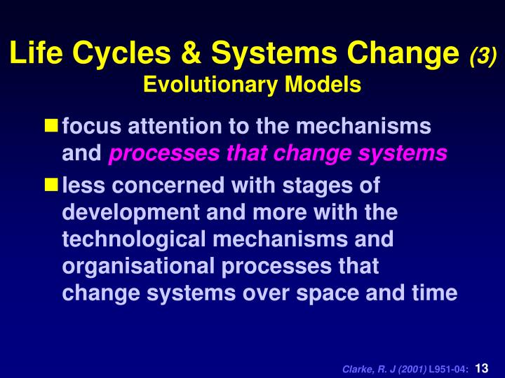 Life Cycles & Systems Change