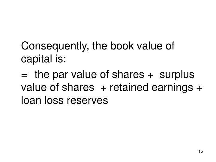 Consequently, the book value of capital is: