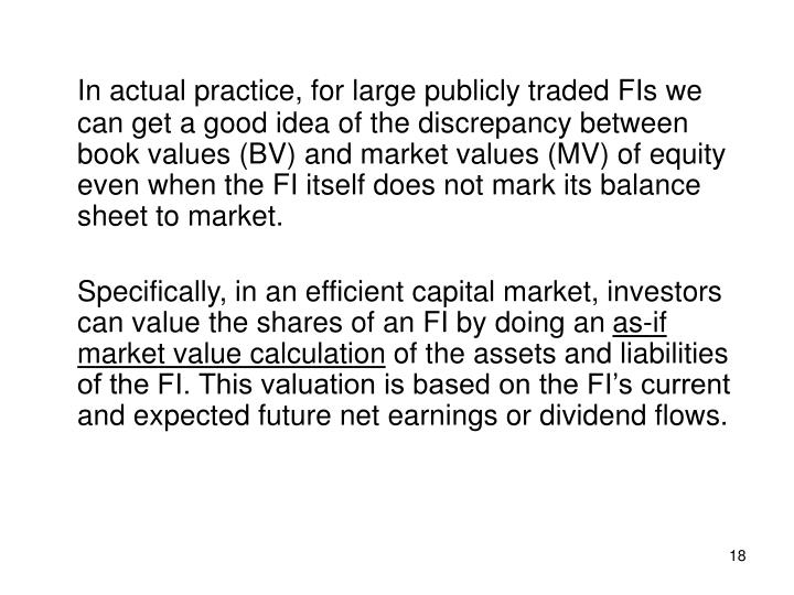 In actual practice, for large publicly traded FIs we can get a good idea of the discrepancy between book values (BV) and market values (MV) of equity even when the FI itself does not mark its balance sheet to market.