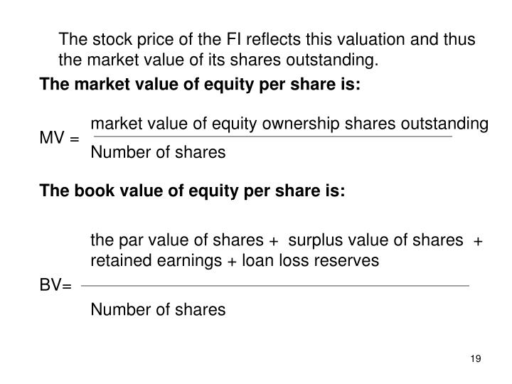 The stock price of the FI reflects this valuation and thus the market value of its shares outstanding.