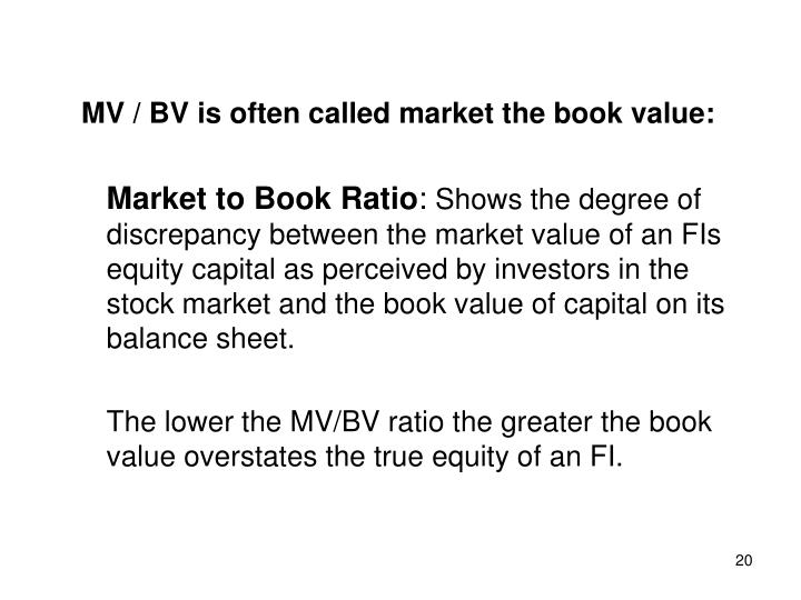 MV / BV is often called market the book value: