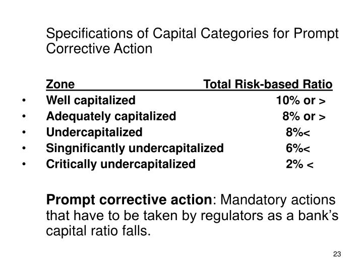 Specifications of Capital Categories for Prompt Corrective Action