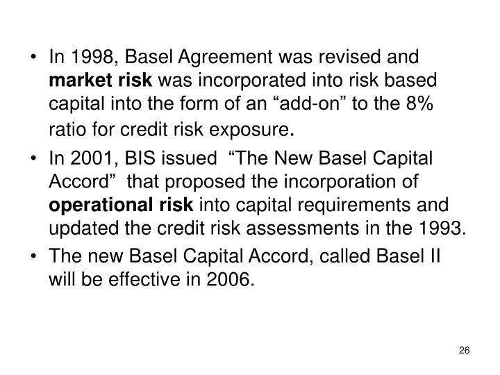 In 1998, Basel Agreement was revised and