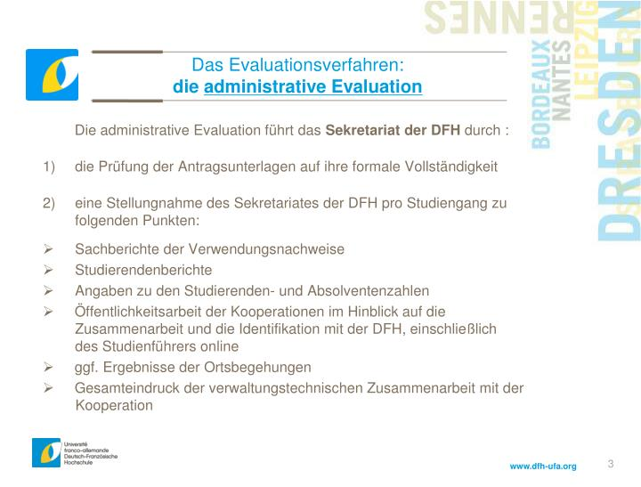 Das evaluationsverfahren die administrative evaluation