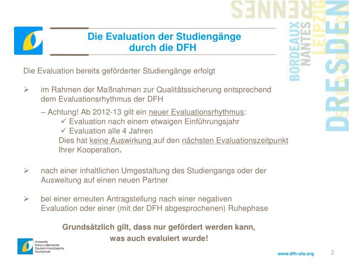 Die evaluation der studieng nge durch die dfh
