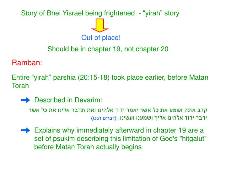 "Story of Bnei Yisrael being frightened  - ""yirah"" story"
