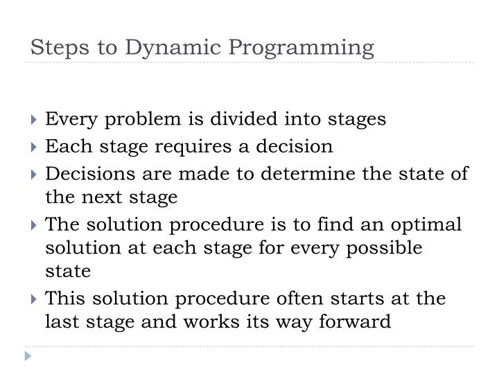 Steps to Dynamic Programming