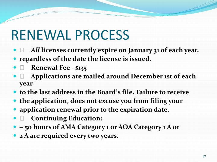 RENEWAL PROCESS