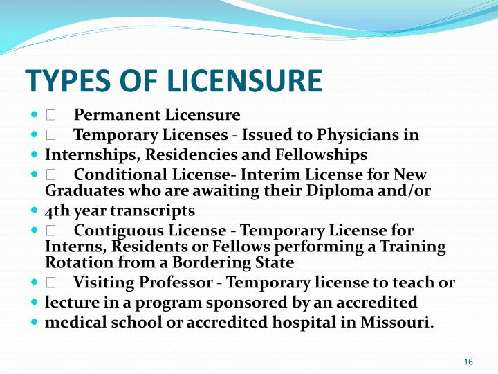 TYPES OF LICENSURE