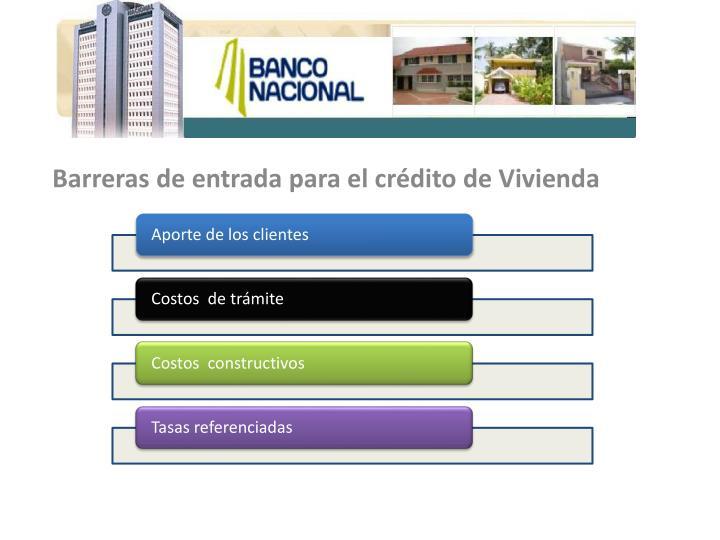 Barreras de entrada para el crédito de Vivienda