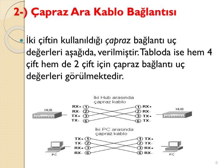2-) Çapraz Ara Kablo Bağlantısı