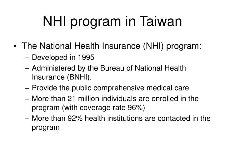 NHI program in Taiwan