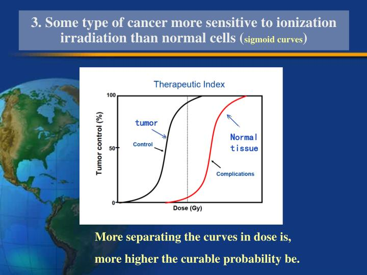 3. Some type of cancer more sensitive to ionization irradiation than normal cells (