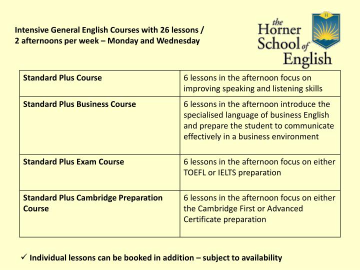 Intensive General English Courses with 26 lessons /