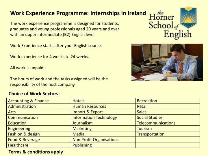 Work Experience Programme: Internships in Ireland