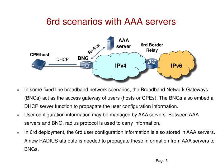 6rd scenarios with AAA servers