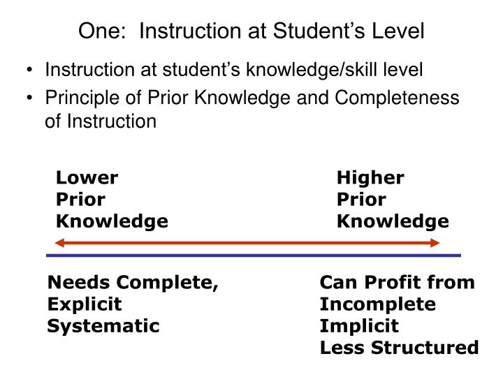 One:  Instruction at Student's Level